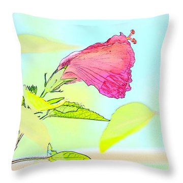 Hibiscus Unbloomed Throw Pillow