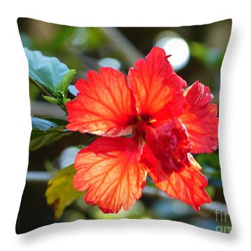 Hibiscus Veins Throw Pillow