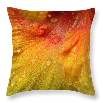 Throw Pillow featuring the photograph Hibiscus Water Drops by Lisa L Silva