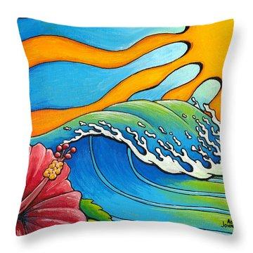 Hibiscus Wave Throw Pillow