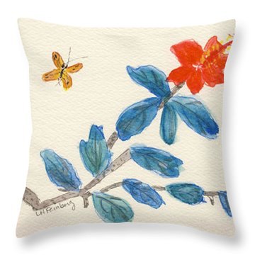 Hibiscus With Butterfly Throw Pillow