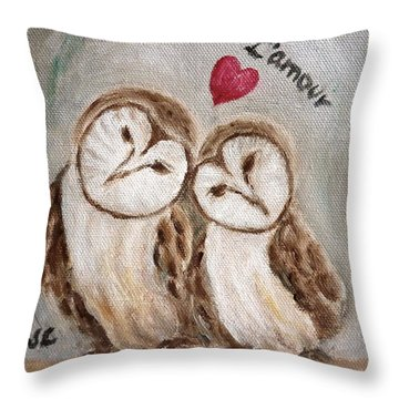Hiboux Dans L'amour Throw Pillow by Victoria Lakes