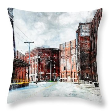Hickory - Urban Building Row Throw Pillow by Liane Wright