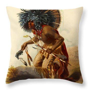 Hidatsa Warrior Throw Pillow
