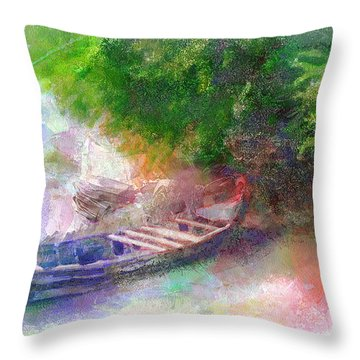 Throw Pillow featuring the painting Hidden Boat by Wayne Pascall