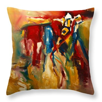 Throw Pillow featuring the painting Hidden Cow by John Jr Gholson