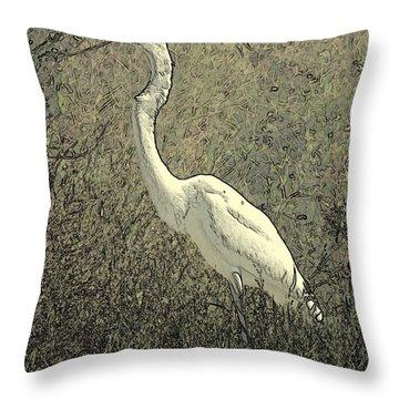 Hidden Egret Throw Pillow by Carol Groenen
