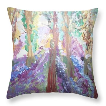 Hidden Forest Fairies Throw Pillow by Judith Desrosiers