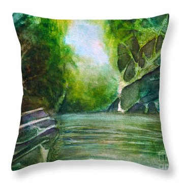 Throw Pillow featuring the painting Hidden Green by Allison Ashton