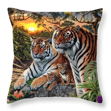 Hidden Images - Tigers Throw Pillow by Steve Read
