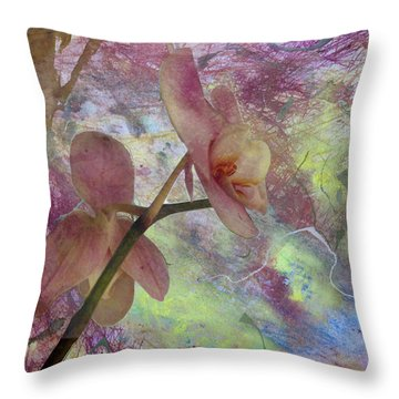 Hidden Orchid Throw Pillow by Donna Walsh