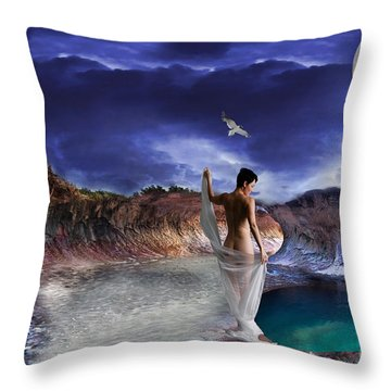 Throw Pillow featuring the digital art Hidden River by Liane Wright