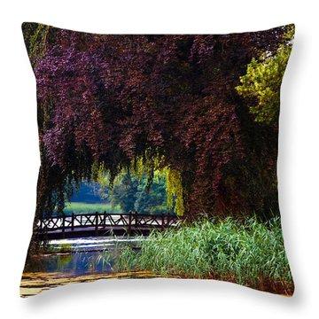 Hidden Shadow Bridge At The Pond. Park Of The De Haar Castle Throw Pillow by Jenny Rainbow