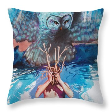 Throw Pillow featuring the painting Hide And Seek by Rene Capone
