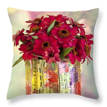 Throw Pillow featuring the photograph Hide And Seek Zinnias by Sandra Foster