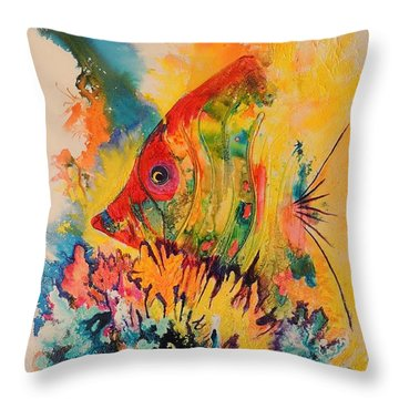 Throw Pillow featuring the painting Hiding Amongst The Coral by Lyn Olsen