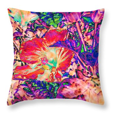 Hiding Hibiscus Throw Pillow