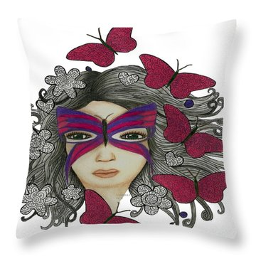 Hiding Me Pencil Drawing By Saribelle Rodriguez Throw Pillow by Saribelle Rodriguez