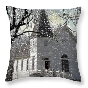 Higgensville Church Throw Pillow by Liane Wright