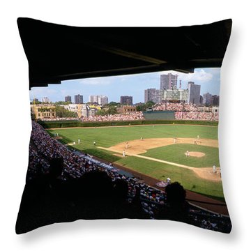 High Angle View Of A Baseball Stadium Throw Pillow