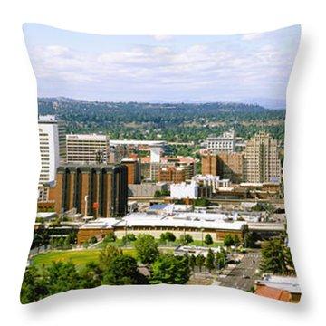 High Angle View Of A City, Spokane Throw Pillow