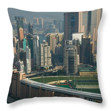 High Angle View Of A Horseracing Track Throw Pillow