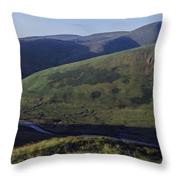 High Angle View Of Hills, Strawberry Throw Pillow