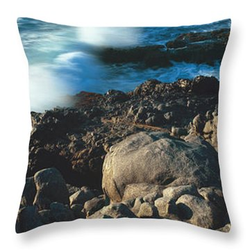 High Angle View Of Rocks On The Coast Throw Pillow