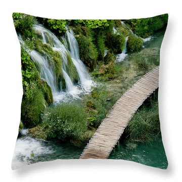 High Angle View Of Waterfall Throw Pillow