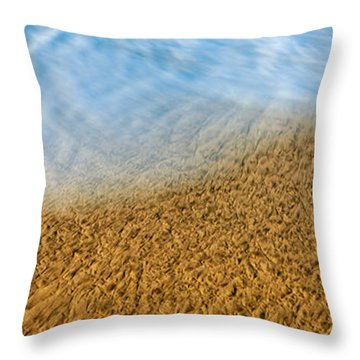 High Angle View Of Waves On The Beach Throw Pillow