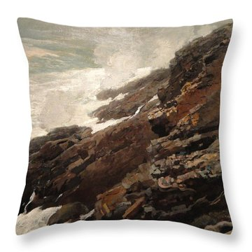 High Cliff Coast Of Maine 1894 Throw Pillow by Philip Ralley