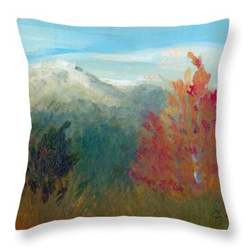 Throw Pillow featuring the painting High Country View by C Sitton