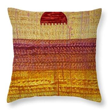 High Desert Horizon Original Painting Throw Pillow by Sol Luckman
