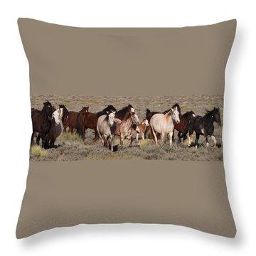 High Desert Horses Throw Pillow