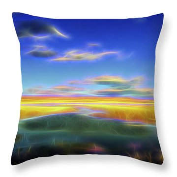 Throw Pillow featuring the digital art High Desert Lake by William Horden