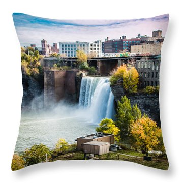 High Falls Rochester Throw Pillow by Sara Frank