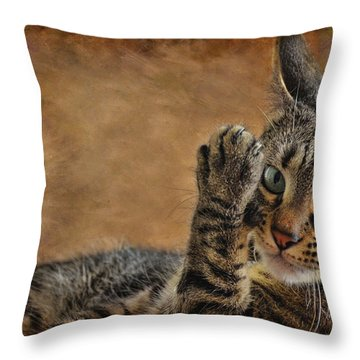 High Five Throw Pillow by Barbara Manis