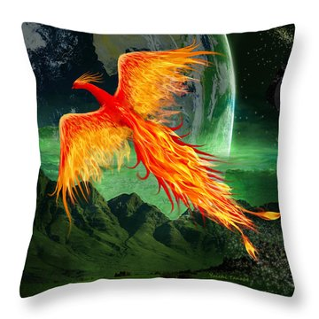 High Flying Phoenix Throw Pillow