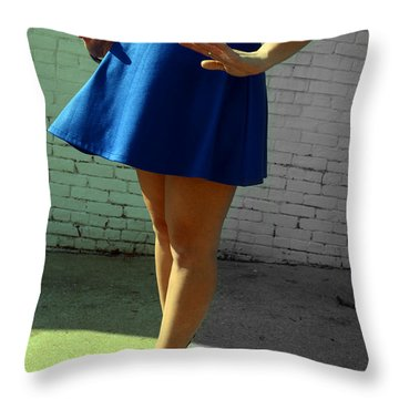 High Heels And A Blue Skirt Throw Pillow
