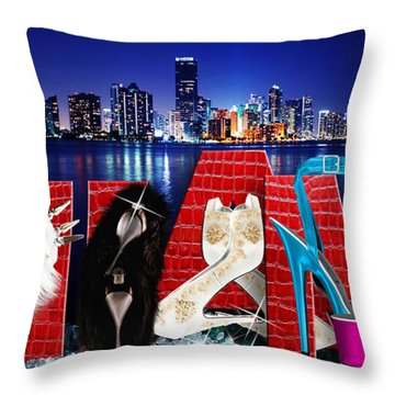 High Heels Miami Throw Pillow