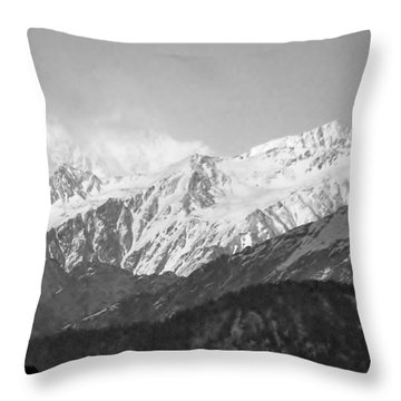 High Himalayas - Black And White Throw Pillow by Kim Bemis