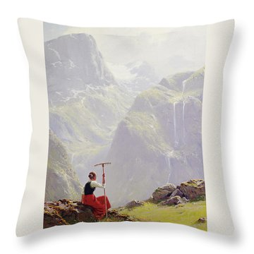 Throw Pillow featuring the painting High In The Mountains by Hans Andreas Dahl