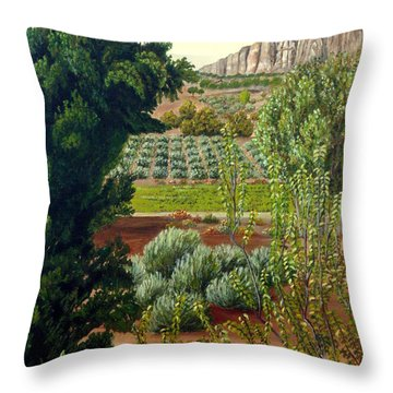 High Mountain Olive Trees  Throw Pillow
