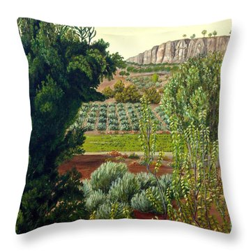 Throw Pillow featuring the painting High Mountain Olive Trees  by Angeles M Pomata