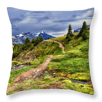 High Mountain Trail Throw Pillow