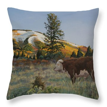 High Range Bull Throw Pillow