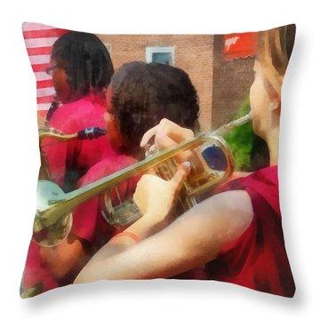 High School Band At Parade Throw Pillow by Susan Savad
