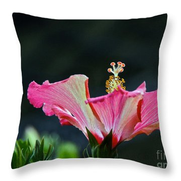 High Speed Hibiscus Flower Throw Pillow
