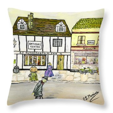 Throw Pillow featuring the painting High Street by Loredana Messina