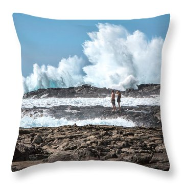 In Over Their Heads Throw Pillow by Denise Bird